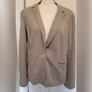 Adrianna Papell Solid Gray Jersey Blazer Pockets